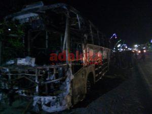 Bus AKAP Ludes Terbakar, Penumpang Selamat