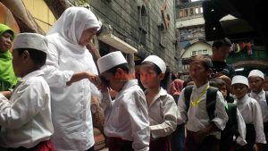 Khofifah Bertemu Dengan Prabowo, SBY, dan Megawati Cilik di Ponpes Millinium Sidoarjo