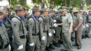 Plt Bupati Nganjuk Hadiri Apel Pasukan Dalam Rangka HUT Satpol PP dan Linmas 2018